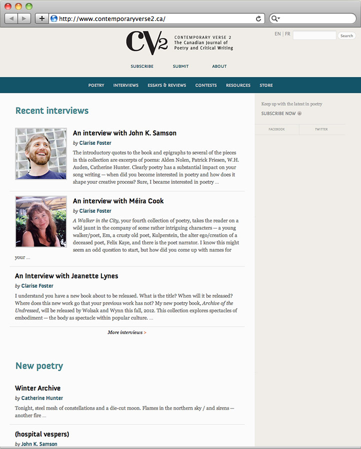 Screenshot of CV2 website homepage.
