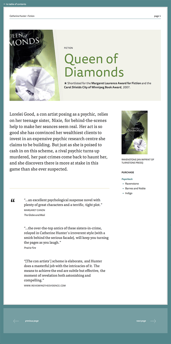 Secondary page design for author website